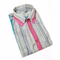 Striped Cotton Mens Collar Neck Casual Printed Shirt, Size: M