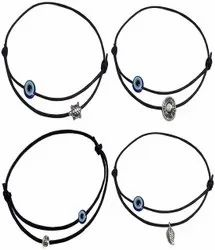 Ecommerce Top Selling Adjustable Black Thread Anklet with Oxidised Beads for Girls