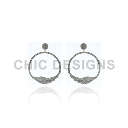 Round Feather Designer Earrings
