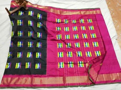 Black, Pink Black And Pink Ikkat Silk Saree, 6.5 m, Hand Made