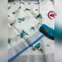 Silk Linen Saree With Thread Embroidered Work With Zari Border