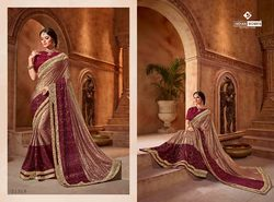 Indian Women Gold And Maroon Color Lycra Saree