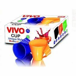 Blue And Orange Vivo Plastic Cup, Size: 4.5 Inch