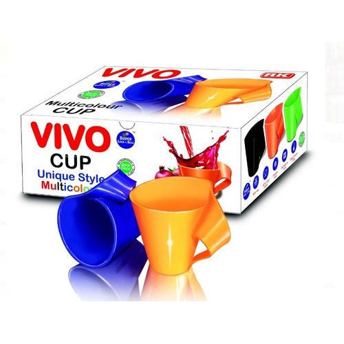 Blue And Orange Vivo Plastic Cup, Size: 4.5 Inch