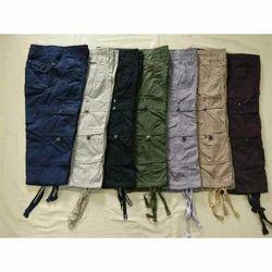 Mens Cotton Plain Three Fourth Cargo, Size: 28 - 36