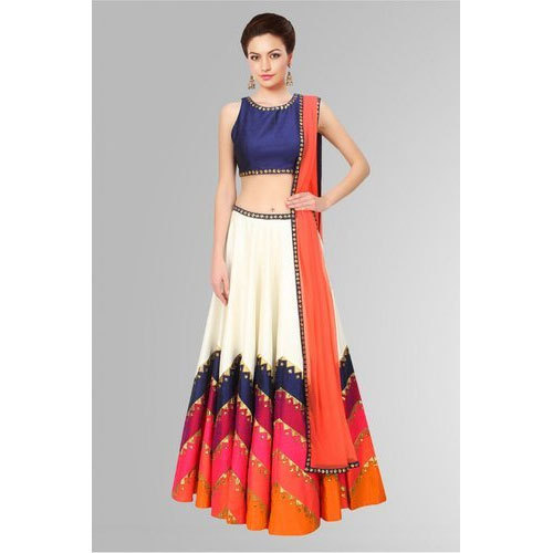 4e20dcce9c Ladies Chiffon Printed Party Wear Long Skirt and Crop Top, Size: S-XXL
