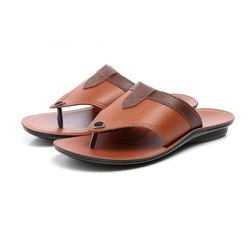 Mens Brown Tan Synthetic Leather PU Slipper