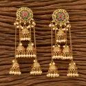 Moti Antique Long Earring With Gold Plating 200579