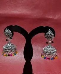 Black Oxidized Traditional Silver Jhumka