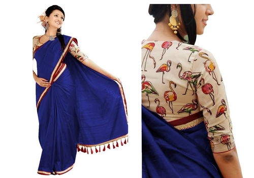 9e6f139d0c Blue Embroidered Crazzy Enterprise Girls Chanderi Cotton Saree, Rs ...
