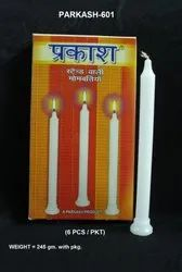Parkash-601 Plain White Candles (6 Pcs / Pkt)