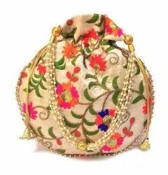 Cotton Canvas Embroidery Potli Bags