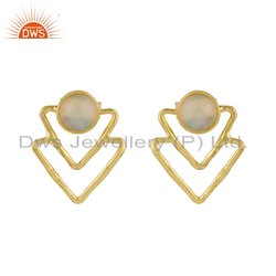 Triangle Shape Silver Gold Plated Ethiopian Opal Gemstone Earring