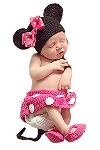 8e5866752 Babymoon (SET OF 4) Minnie Mouse Designer Crochet Outfit - Baby Photography  Prop
