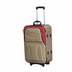 Brown and Red PVC Coated Polyester Travel Trolley Bag, Size: 22 Inch