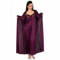Ladies Dark Purple Two Pieces Nighty