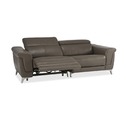 Two Seater Recliner Sofa in Half Leather Dark Brown Colour, Recliner ...