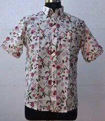 Mens Hand Block Floral Print Pink Shirt