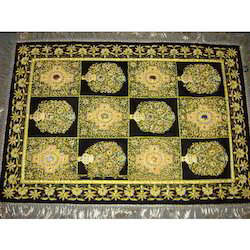Golden And Black Indian Hand Embroidery Jewel Carpet