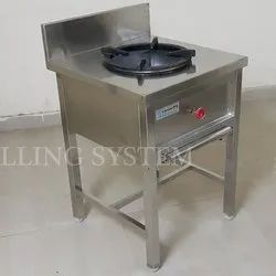 Stainless Steel Single Burner Cooking Range, for Restaurant