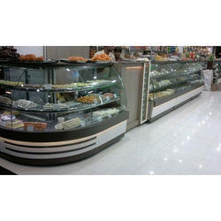 L Shape Flat Glass Display Counter