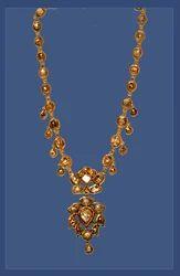 Female Victorian Kundan Meena Golden Necklace