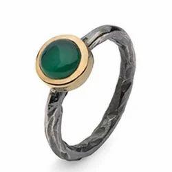 Beautiful Black Oxidised 925 Sterling Silver Green Onyx Handmade Girls Standard Ring