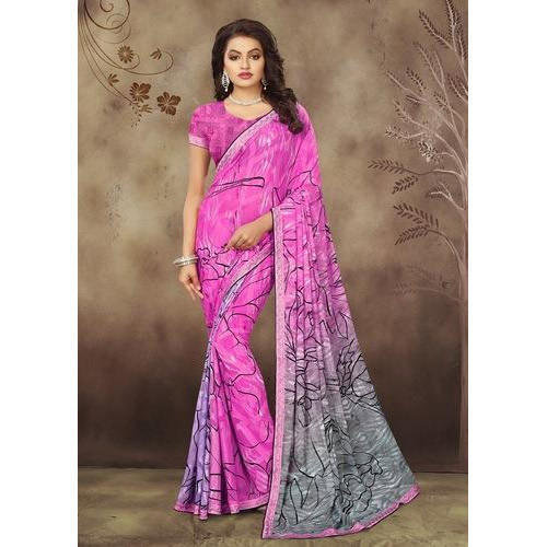 af0f206c022a45 Ladies Georgette Printed Saree, Length: 6 M, Rs 600 /piece | ID ...