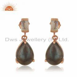 Moonstone Labradorite Gemstone Designer Rose Gold Plated Silver Earrings