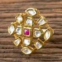 Ruby, White Gold Plated Kundan Classic Ring 300310