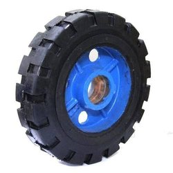 Anti Skid Solid Rubber Tyred Trolley Wheels On Sheet Disc Upto 16 Inch Diameter