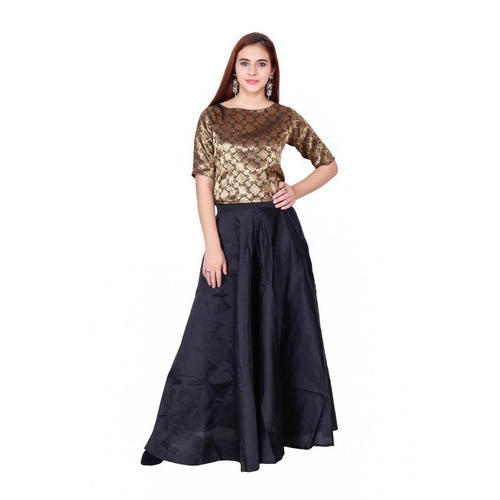 e80b8a7d3 Ladies Black Long Skirt And Golden Top With Dupatta Set, Size: 30 To ...