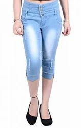 Blue Plain Blinkin Slim Fit High-Waist Distressed Capri Jeans