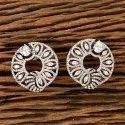 White Cz Black Rose Plated Stud Earrings 405538