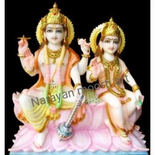 Painted Marble Laxmi Narayan Statue