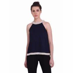 Ladies Blue Plain Sleeveless Top, Size: S-XXL