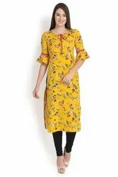 Bell Sleeves Women's Yellow Crepe Kurti