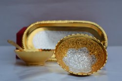 Gold Plated Wedding Gift Bowl And Tray Set