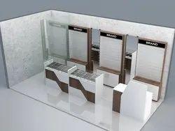 Optical Wall Display Unit with Display Shelf