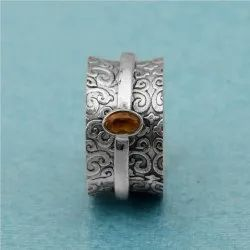 925 Sterling Silver Leaf Design  Ring