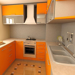 Residential U Shape Modular Kitchen, Warranty: 5 Years