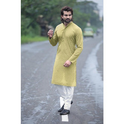 Cotton Chikan Party Wear Kurta Payjama