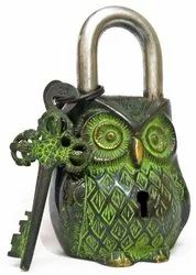 Handmade Old Vintage Style Antique Owl Shape Brass Security Lock with 2 Keys