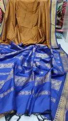 Party Wear Border Gadwal cotton sarees, With blouse piece, 6.5 m