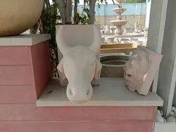 Sandstone Nandi Bull Face Statue