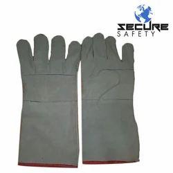 Plain White Heavy Duty Leather Hand Gloves, Finger Type: Full Fingered, 6-10 Inches