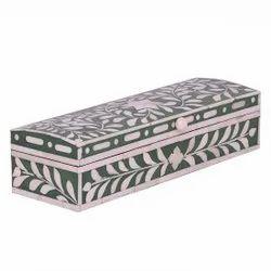 Dark Green Surya Art Gallery Camel Bone Inlay Jewellery Box, Shape: Rectangular