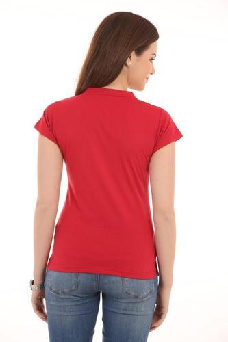 c6f7ab35 Cotton Ultrafit V Neck Solid Red Women T- Shirt, Rs 449 /piece | ID ...