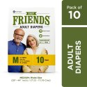 Friends Easy Adult Diapers Medium Size Waist 28-44 Inch High Absorbency Anti-Bacterial Core 10s PACK