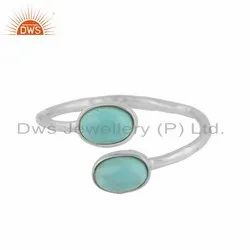 Solid 925 Silver Arizona Turquoise Gemstone Stackable Ring Fine Jewelry